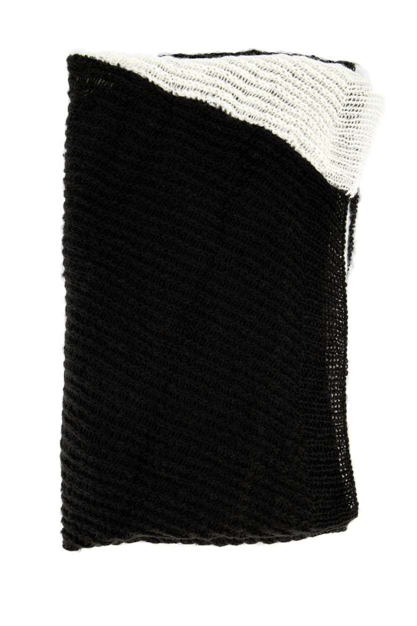 Womens Knitted Colorblock Scarf, Ivory/Black