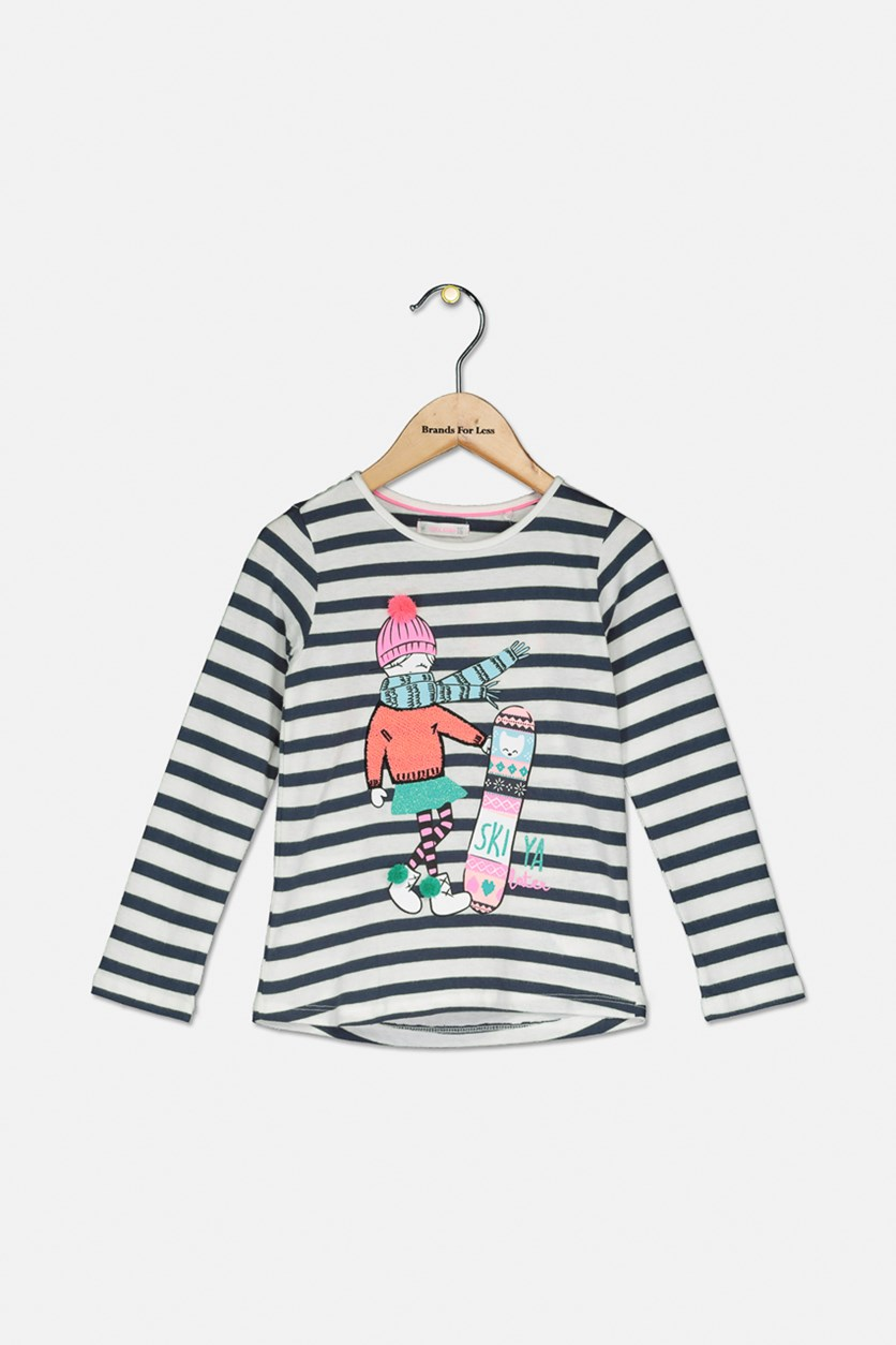 Girl's Textured Stripe Longsleeve Pullover Top, White/Navy Blue