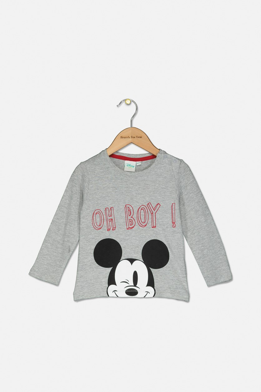 Toddlers Graphic Printed Long Sleeves Shirt, Grey Combo