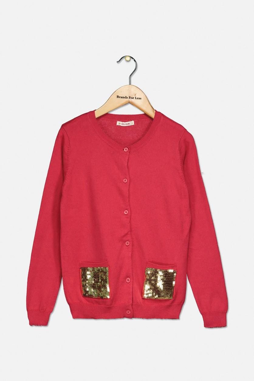 Girl's Sequins Two Front Pocket Longsleeve Cardigan, Red