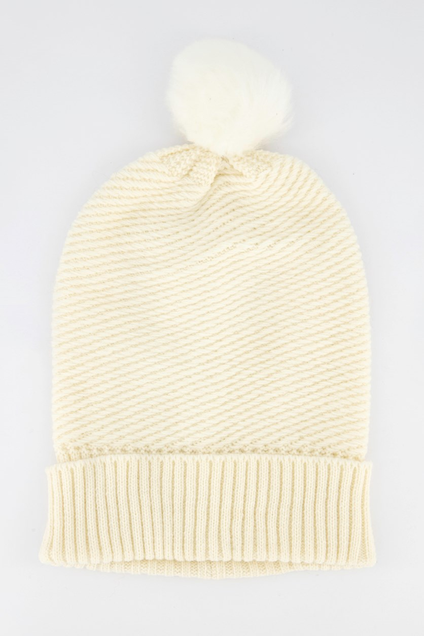 Womens Knitted Pompom Beanie, Ivory