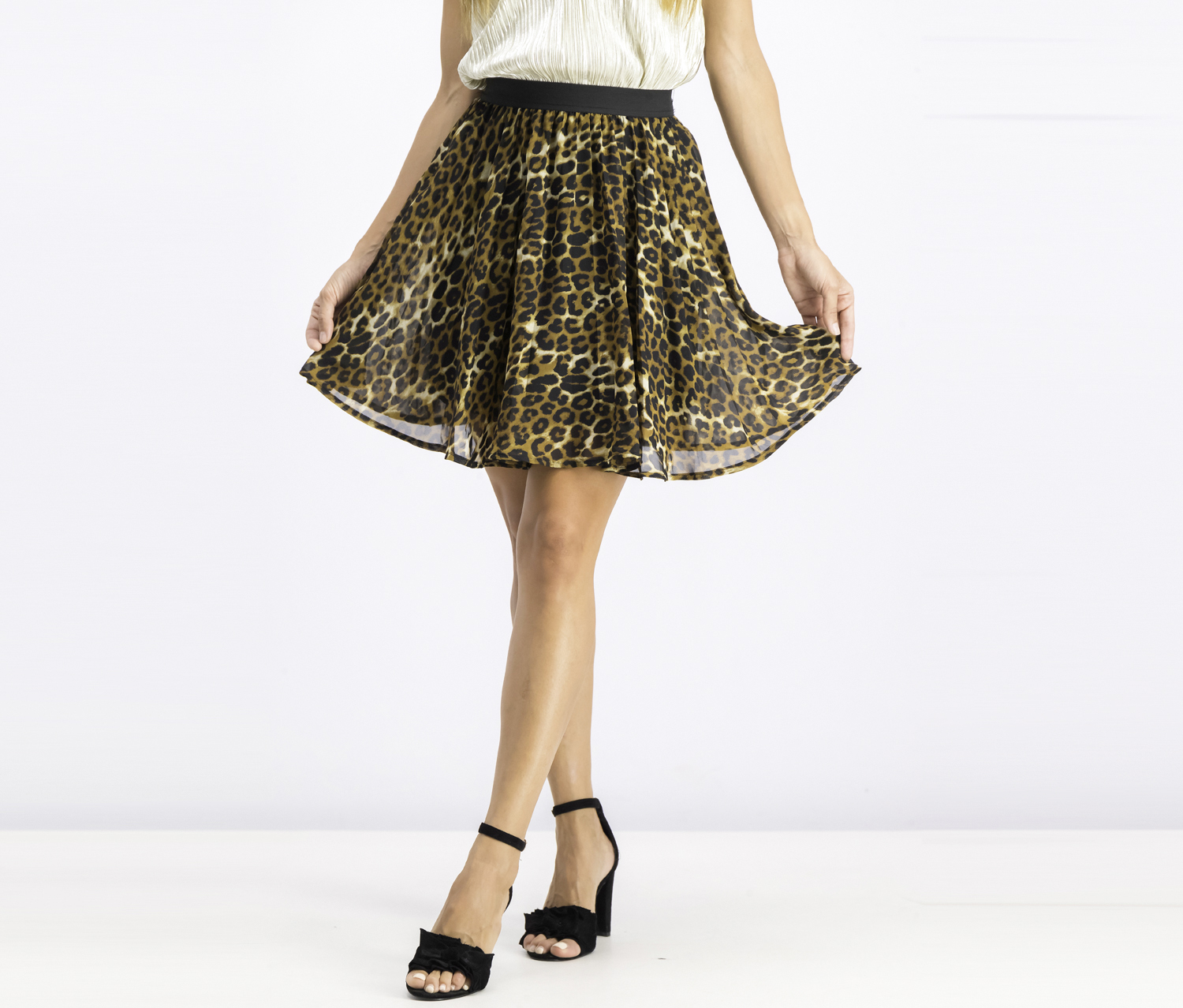 Women's Pleated Skirt, Leopard