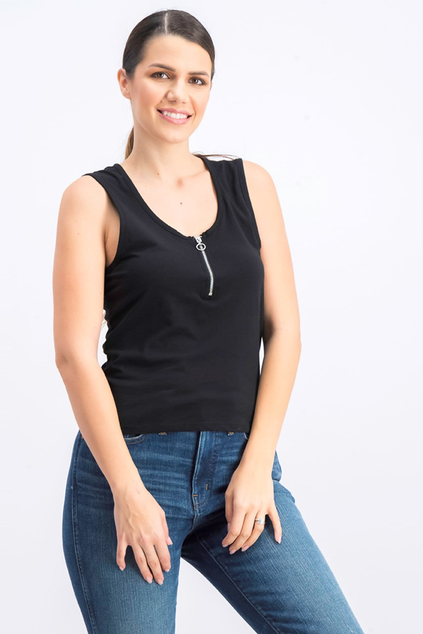 Women's Sleeveless Zip Detail Top, Black