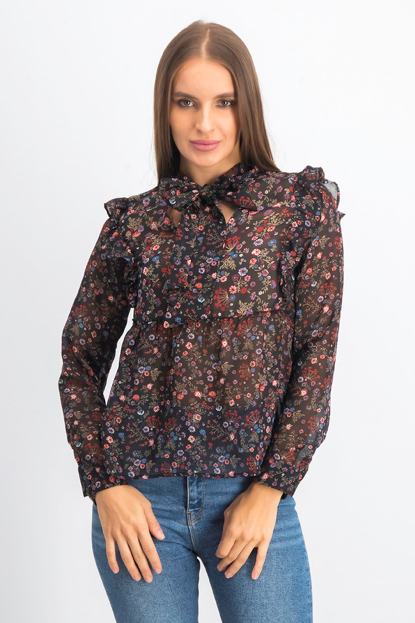 Women's Floral Prints, Black/Red