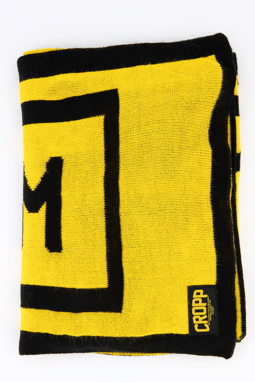 Mens Textured Scarf, Black/Yellow