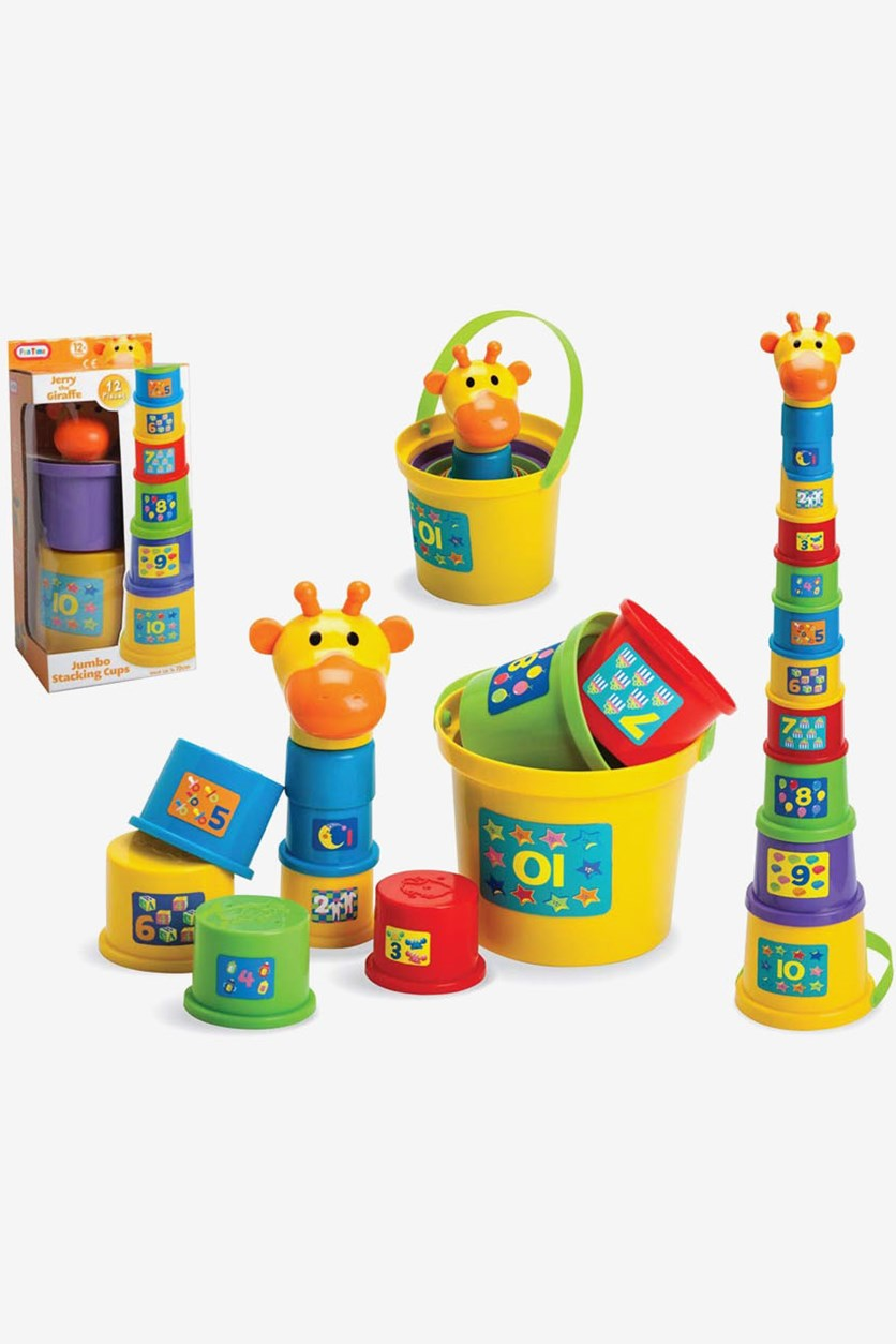 Gerry The Giraffe Baby Toddler Stacking Nesting Sorting Cups Blocks Toy Activity, Yellow/Blue Combo