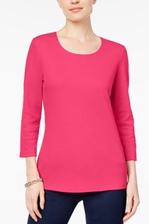 Women's Scoop-Neck Top, Steel Rose