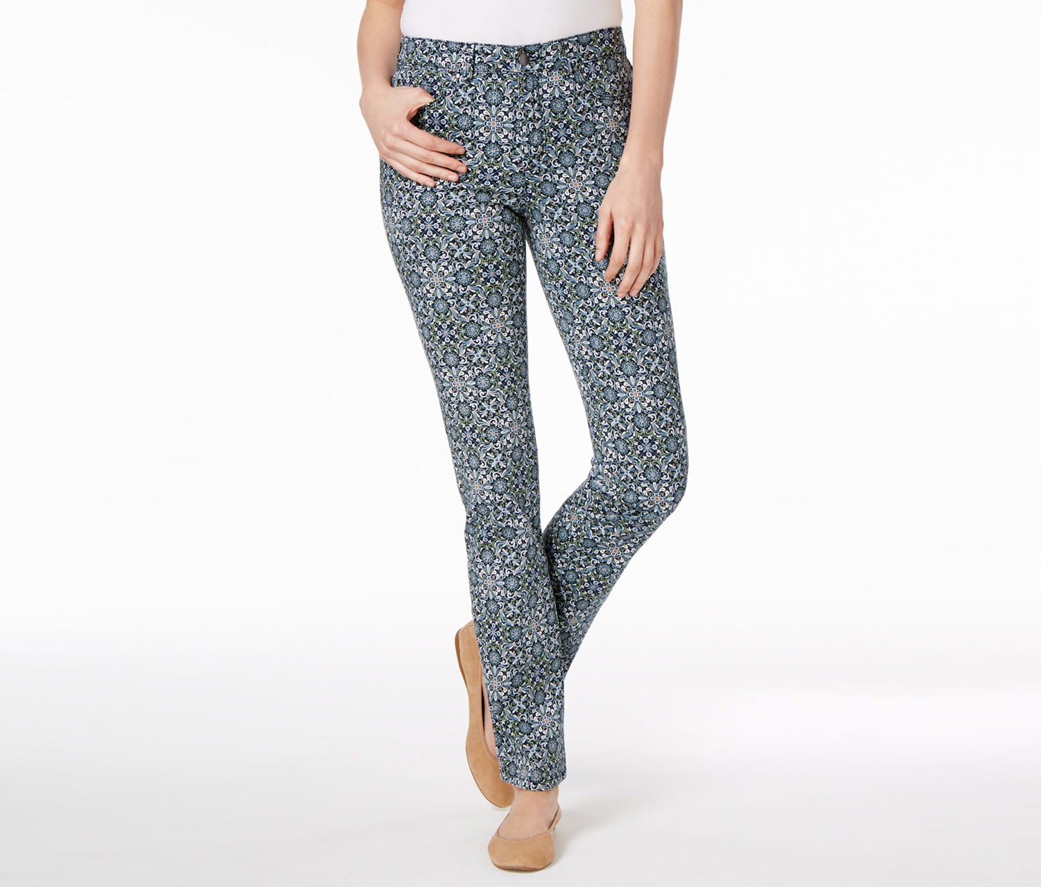 Women's Lexington Printed Straight-Leg Jeans, Blue