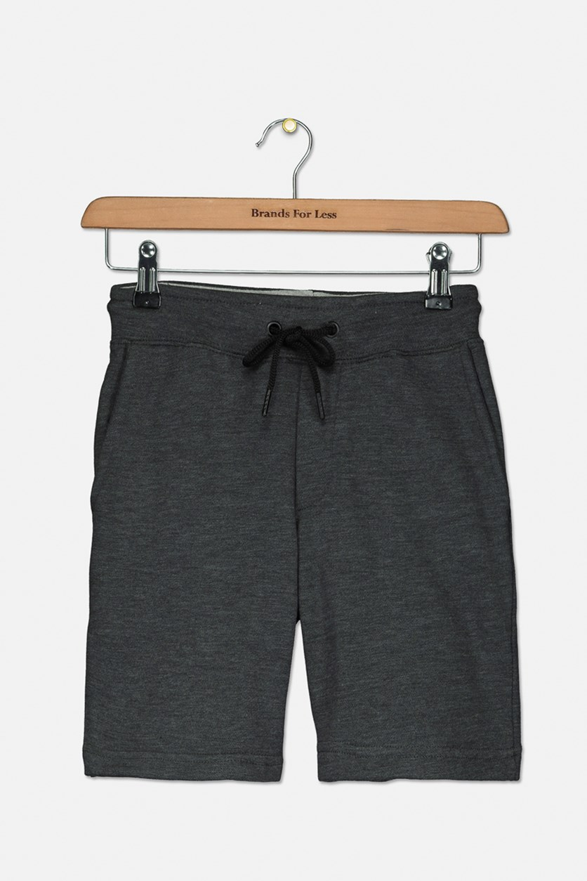 Kids Boys Drawstring Short, Charcoal