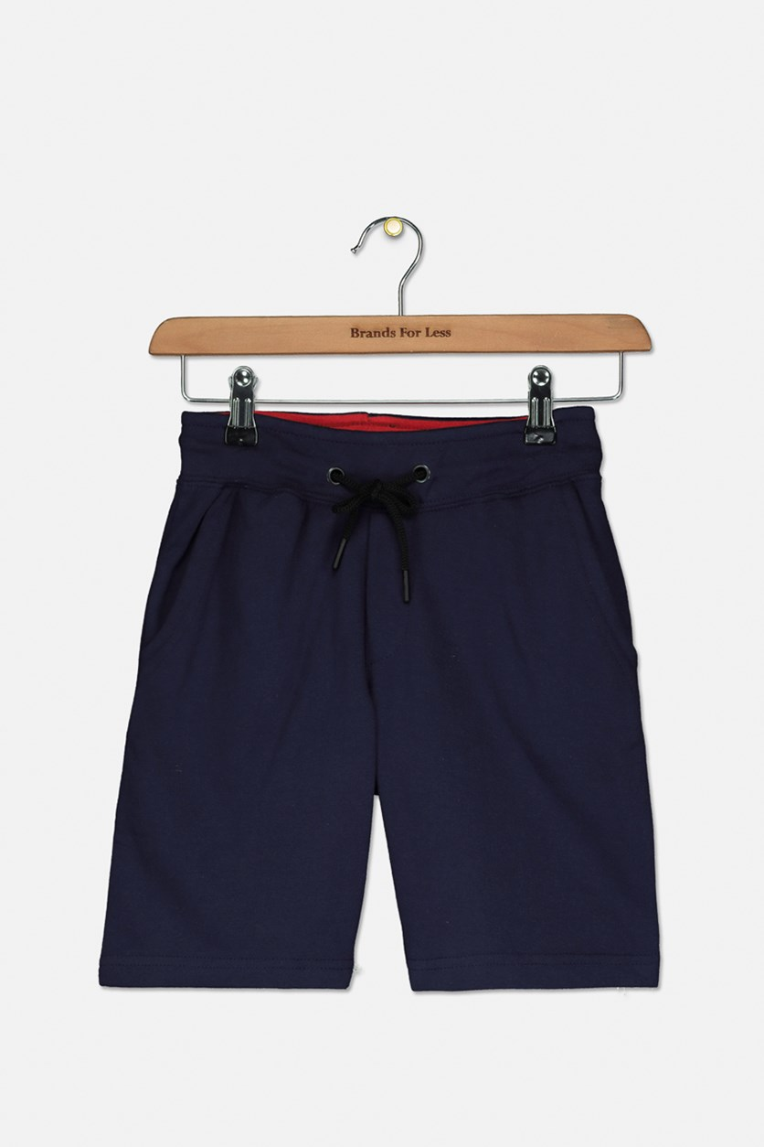 Kids Boys Plain Drawstring Shorts, Navy