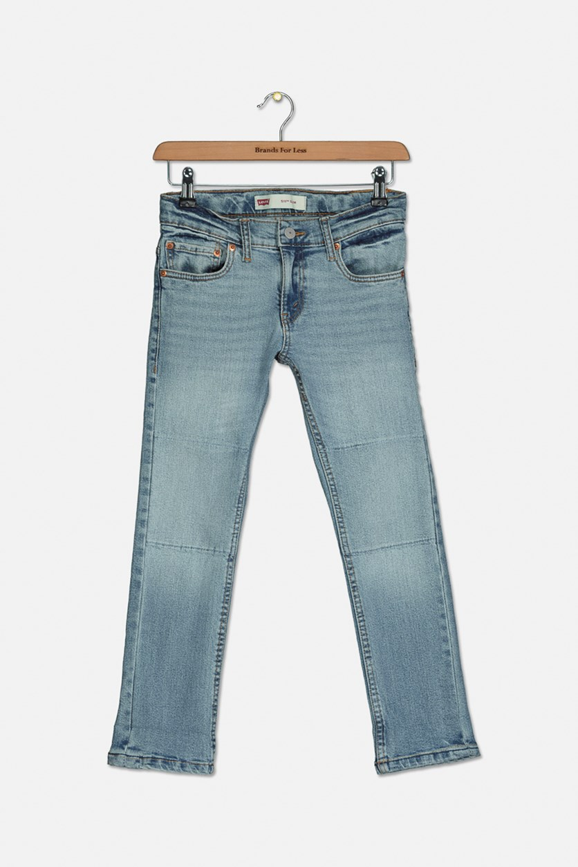 Big Boy's Slim Reflective Details Jeans, Blue Wash
