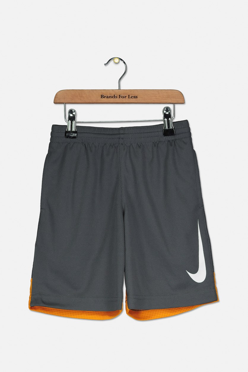 Big Boys Dri-fit Basketball Shorts, Dark Grey/Orange