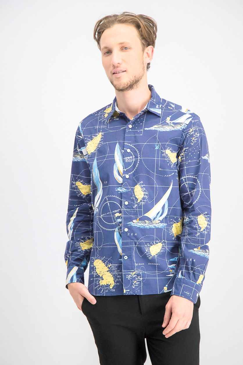 Men's Sailboat Shirt, Navy