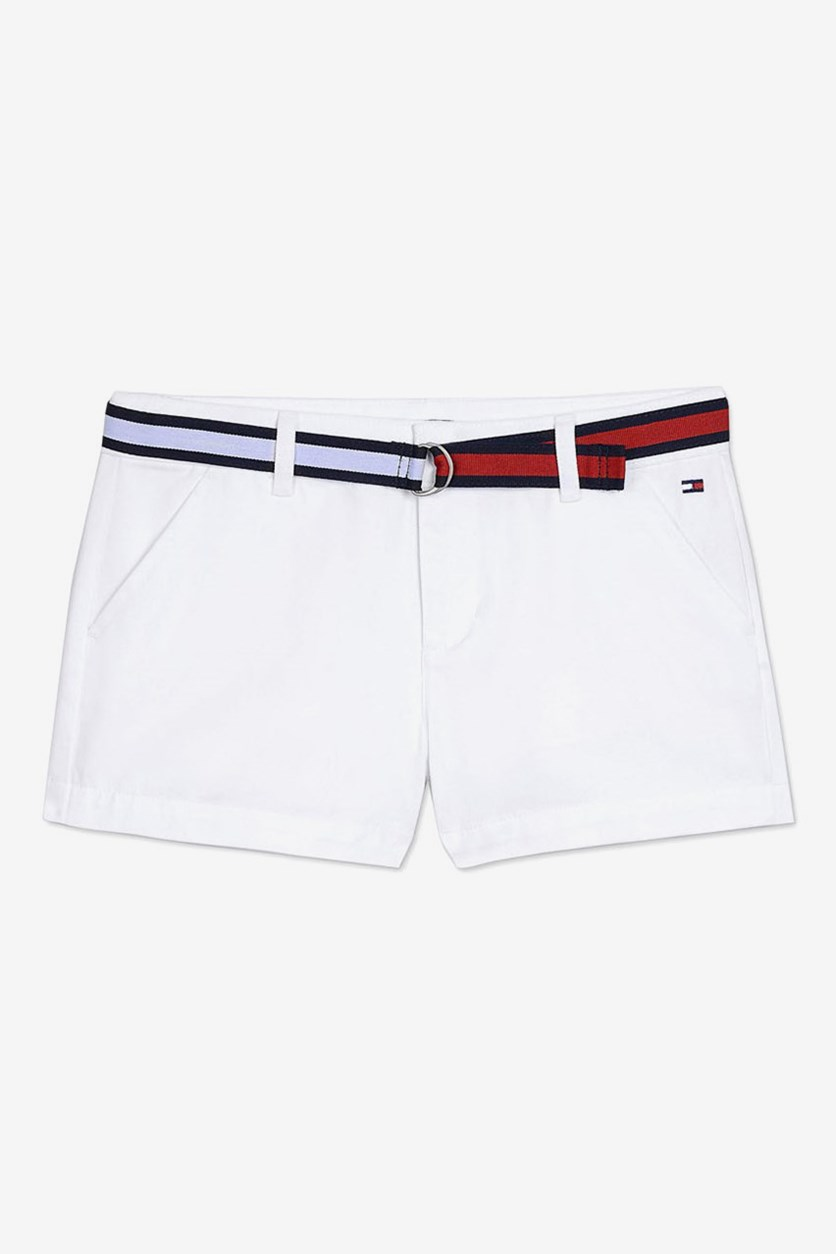 Kids Girl's Stretch Twill Shorts with Flag Belt, White