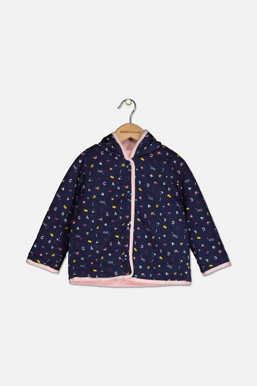 Baby Girls Abc Quilted Cotton Jacket, Medieval Blue