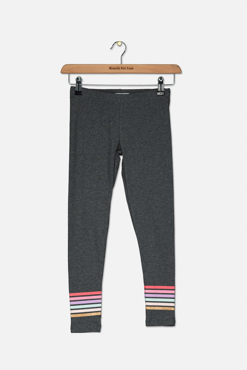Big Girls Border Stripe Leggings, Charcoal Heather