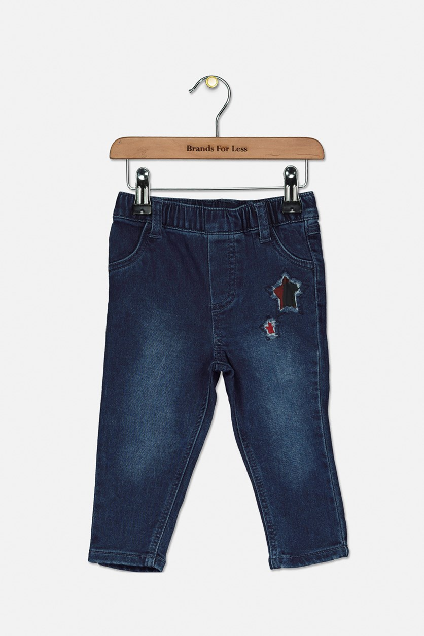 Baby Girls Star Patch Denim Jeans, Blue