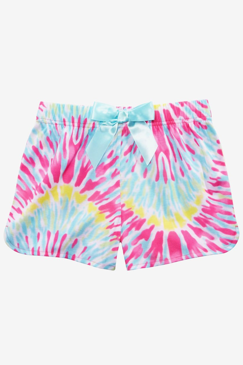 Girl's Tie-Dyed Pajama Shorts, Pink Combo