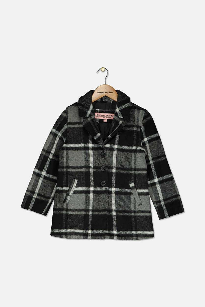 Kid's Girl's Wool Coat, Black/Grey