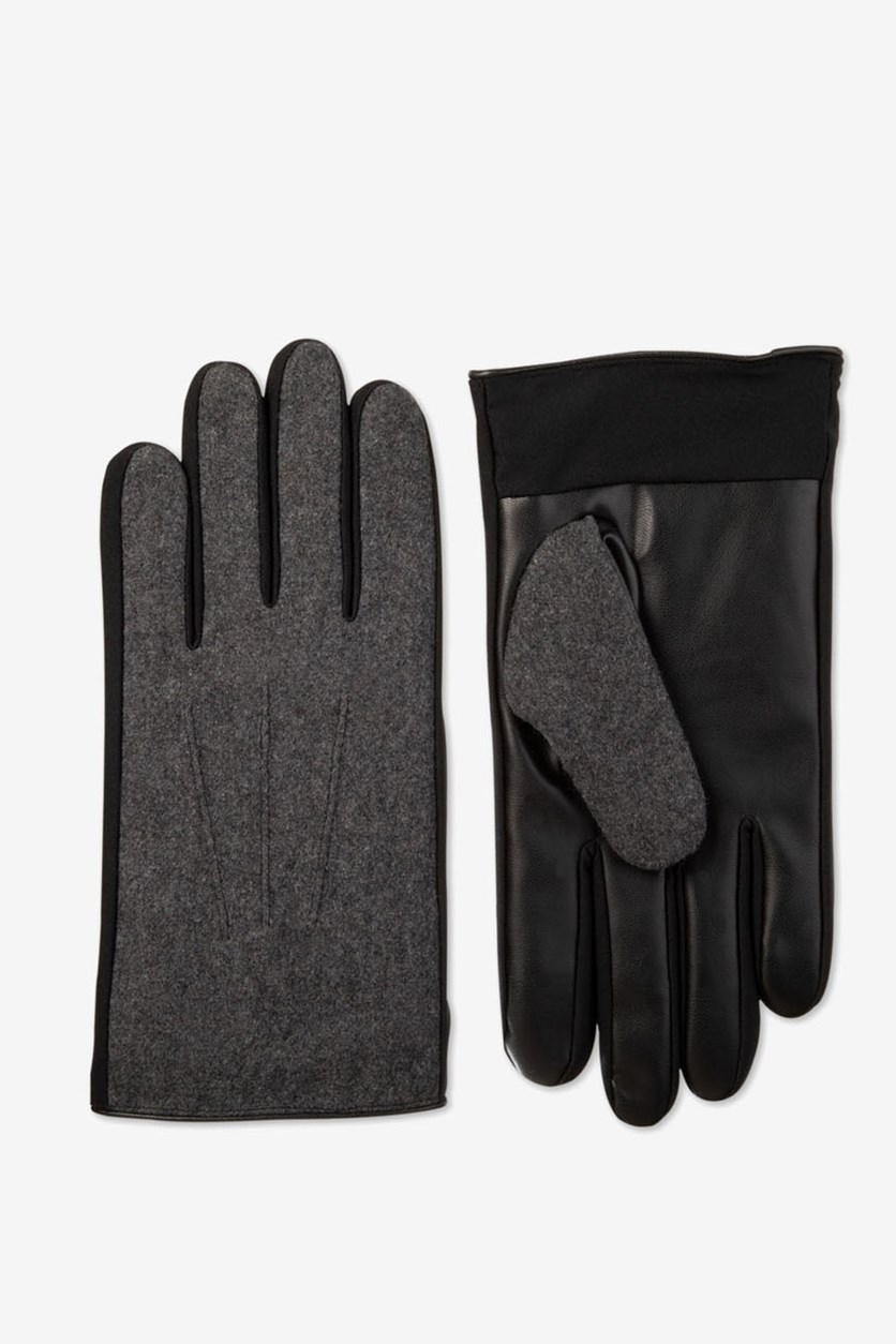 Men's Faux-Leather Driving Gloves, Dark Charcoal