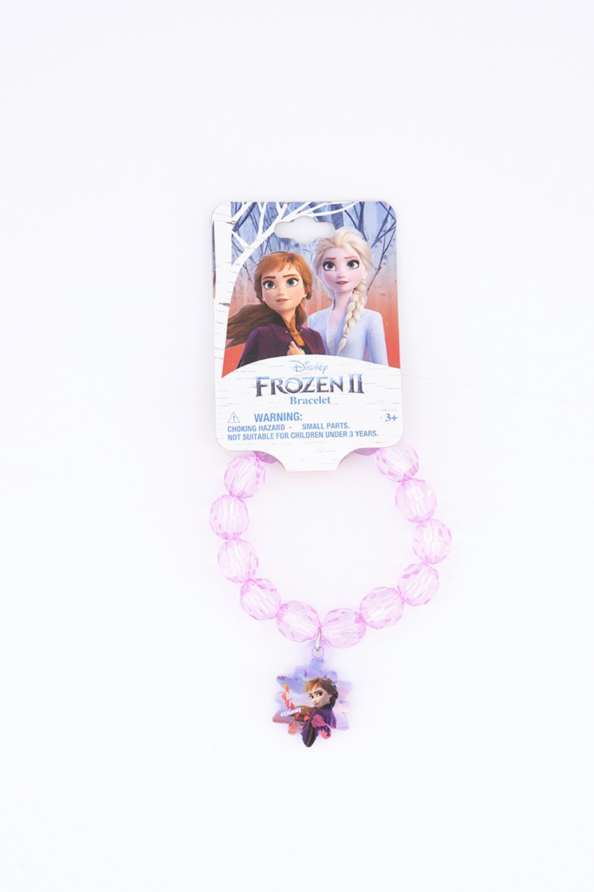 Kids Girl's Faceted Bracelet with Plastic Charm, Purple
