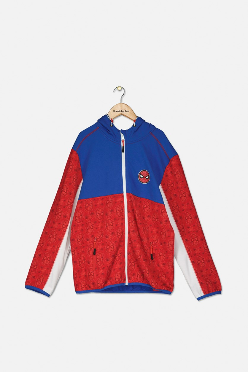 Boy's Longsleeve Hoodie Sweater, Royal Blue Red