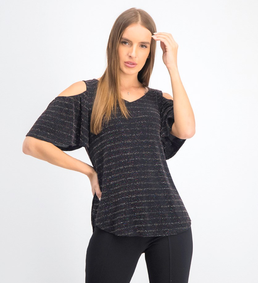 Women's Cold Shoulder Top, Black Combo