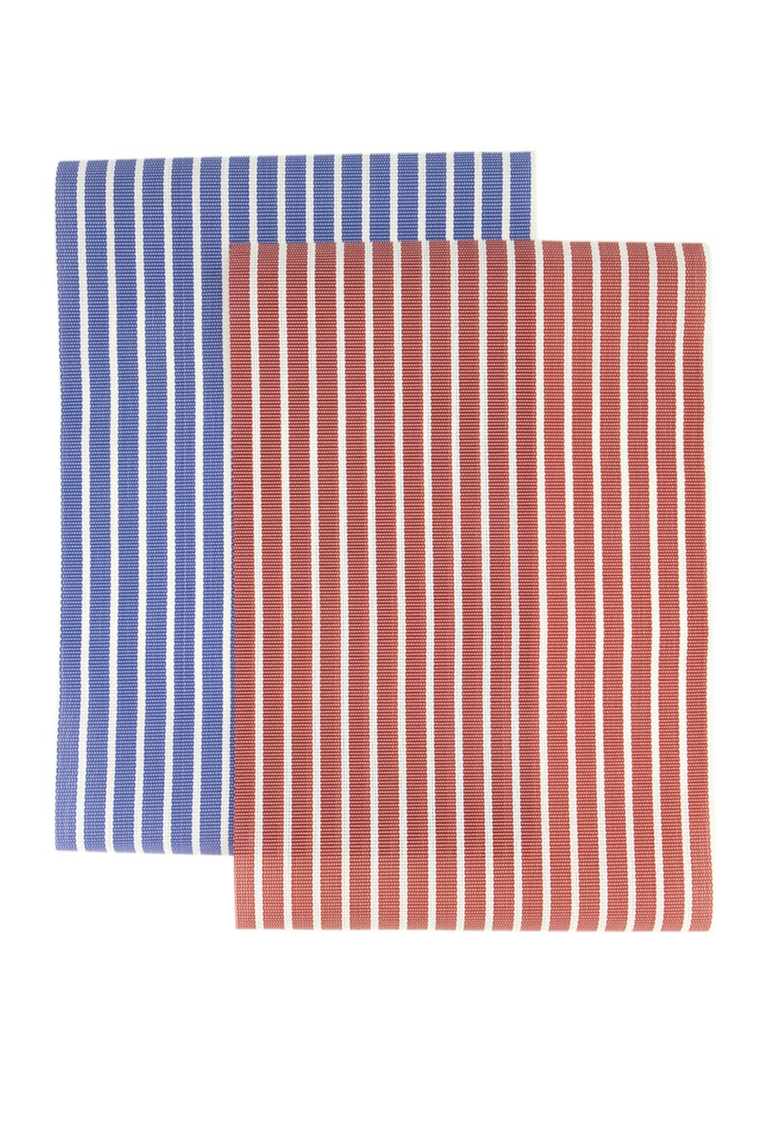 2 Pack Pinstriped Placemat, Red/White