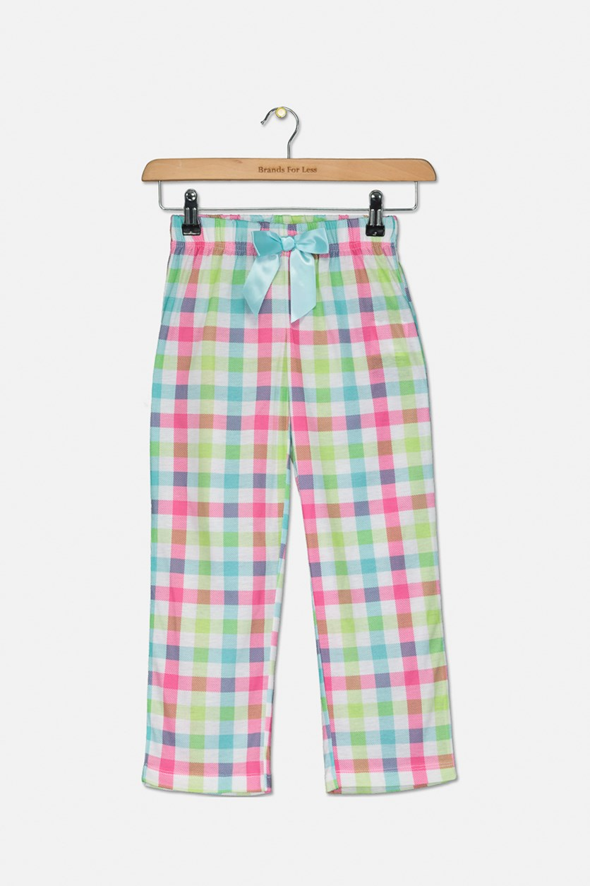 Big Girls Plaid Pajama Pants, Pink/White/Green/Blue