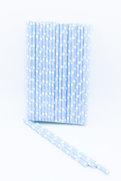 Disposable Drinking Straws, Blue/White