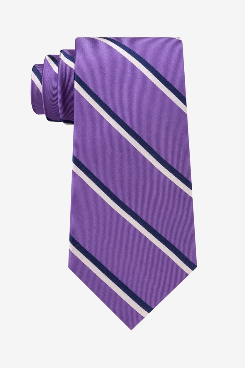 Men's Adam Twill Striped Tie, Purple Combo