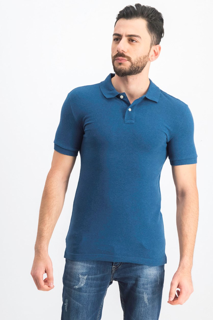 Men's Heather Polo Shirt, Teal