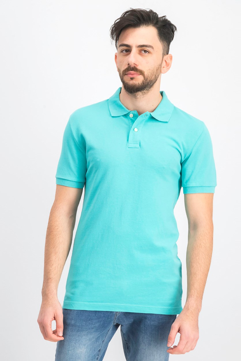 Men's Short Sleeve Polo Shirt, Blue Green