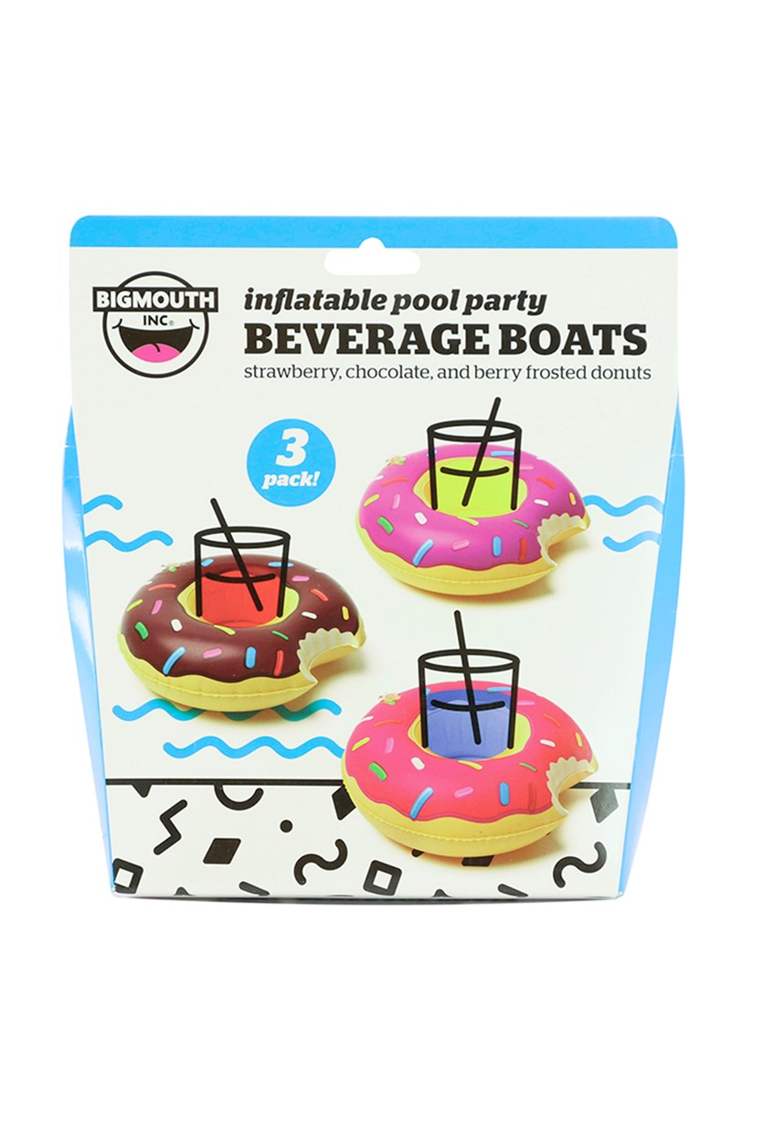 3-Pack Inflatable Donut Beverage Boats, Purple/Pink/Choco