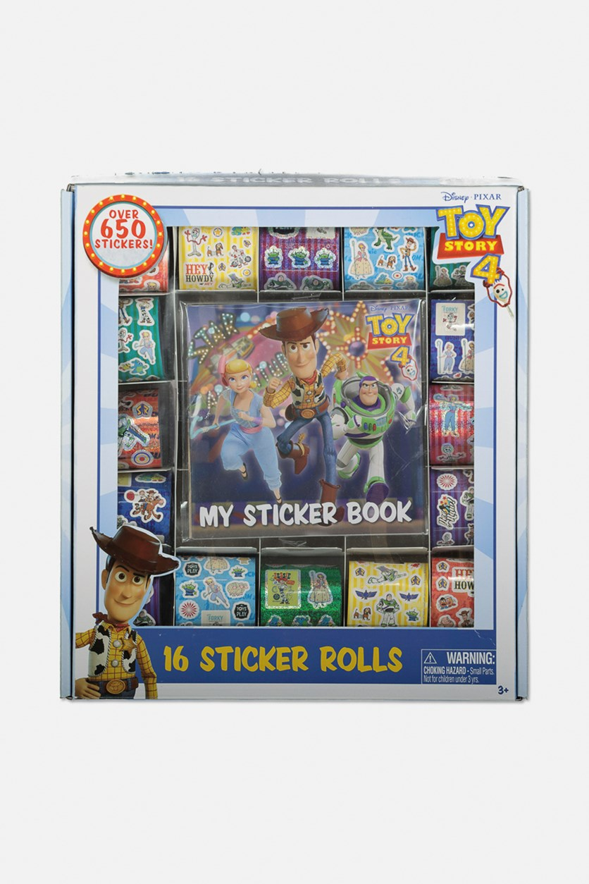 Toy Story 4 Jumbo Sticker Activity Box with 16 rolls & 2 Album, White/Blue Combo