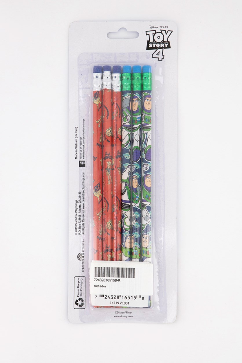 6 Pack Wood Pencil, Red/Green
