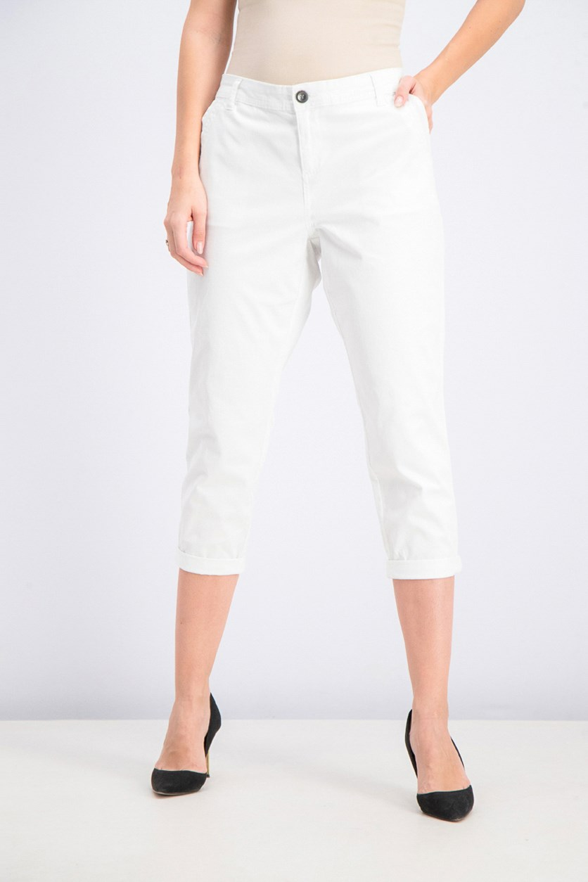 Women's Petite Slim Ankle Pants, White