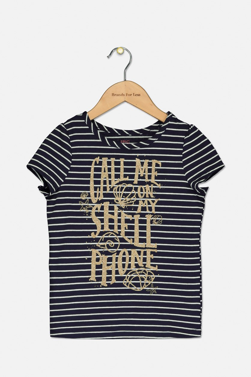 Girls Striped Graphic-Print T-Shirt, Peacoat