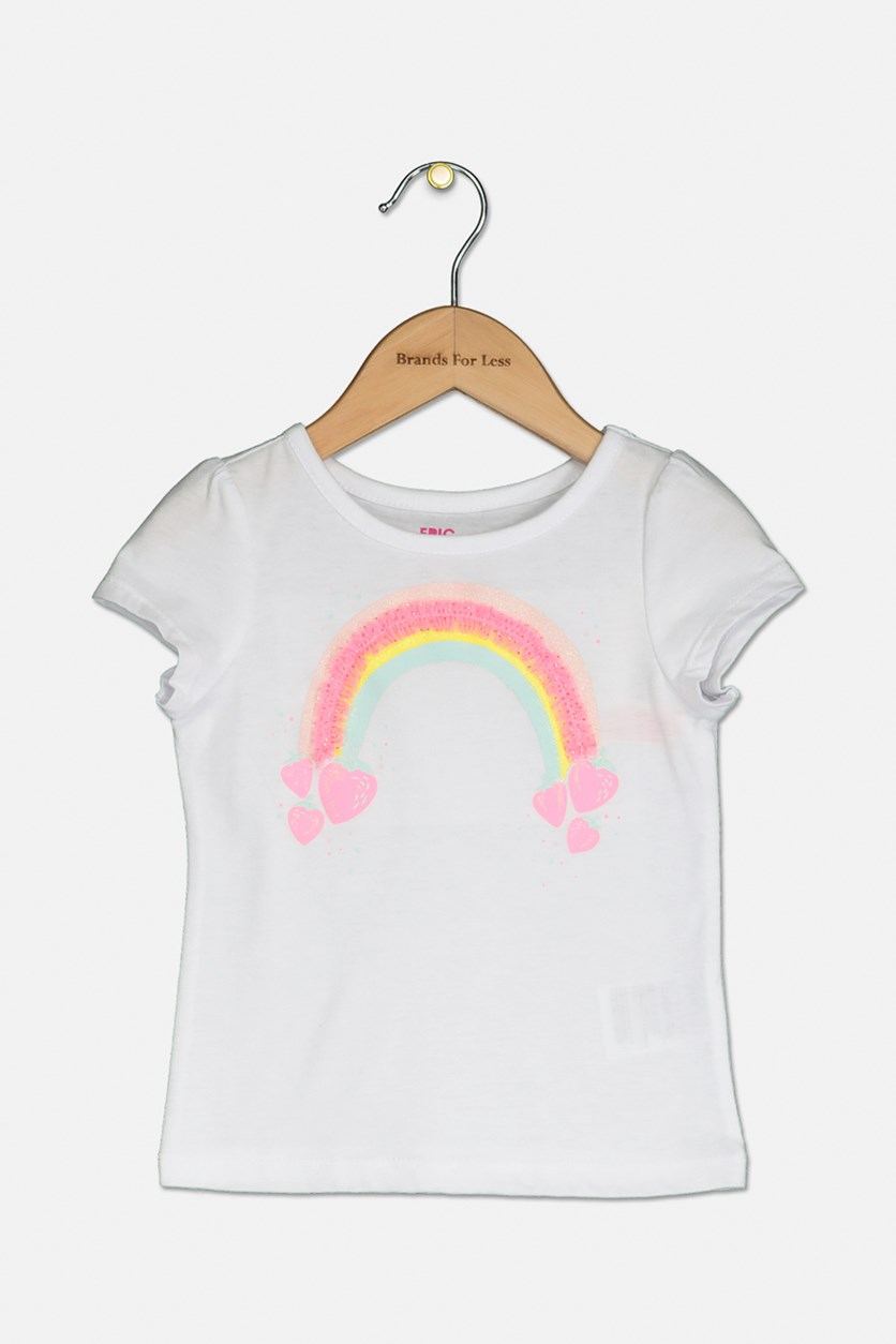 Little Girl's  Graphic Printed Top, White