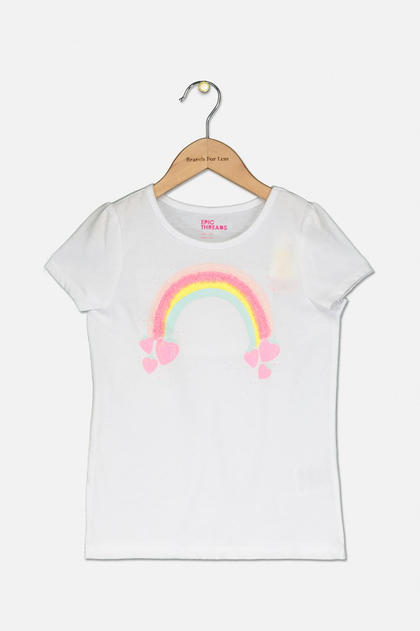 Little Girls Rainbow T-Shirt, Bright White