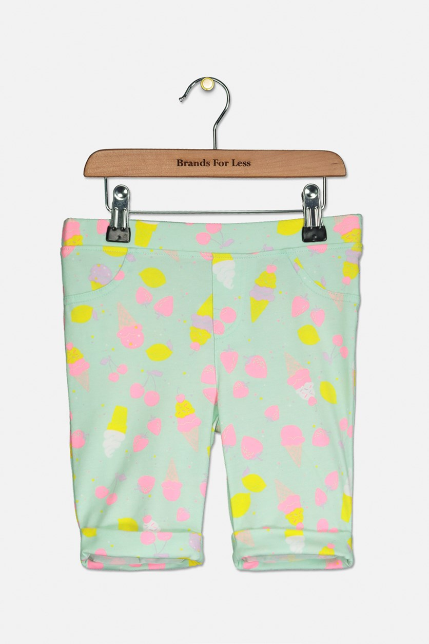Girl's Printed Bermuda Shorts, Bay