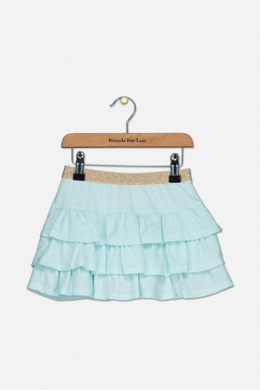 Toddler Girls Striped Ruffle Skirt, Blue