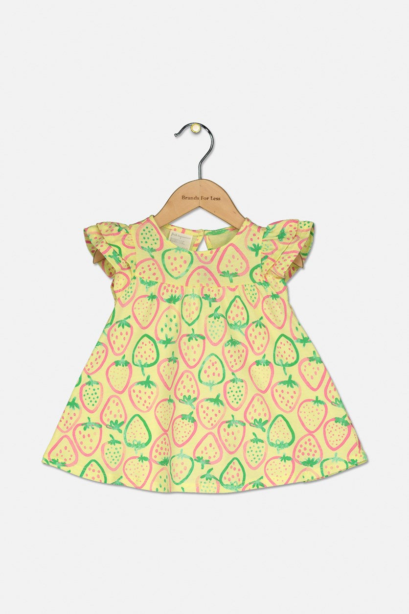 Baby Girls Printed Cotton Dress, Yellow/Pink/Green