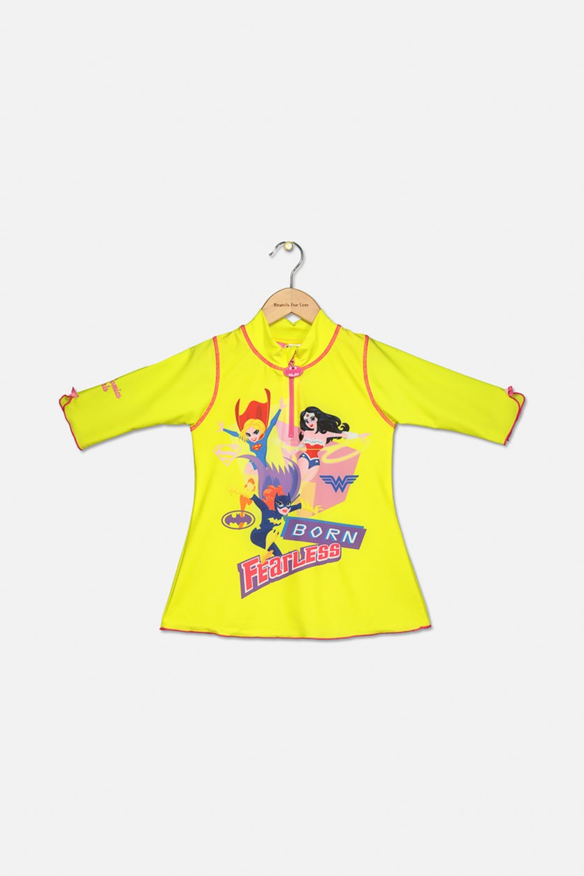 Girl DC Comics Printed UV Protected Rash Guard, Yellow