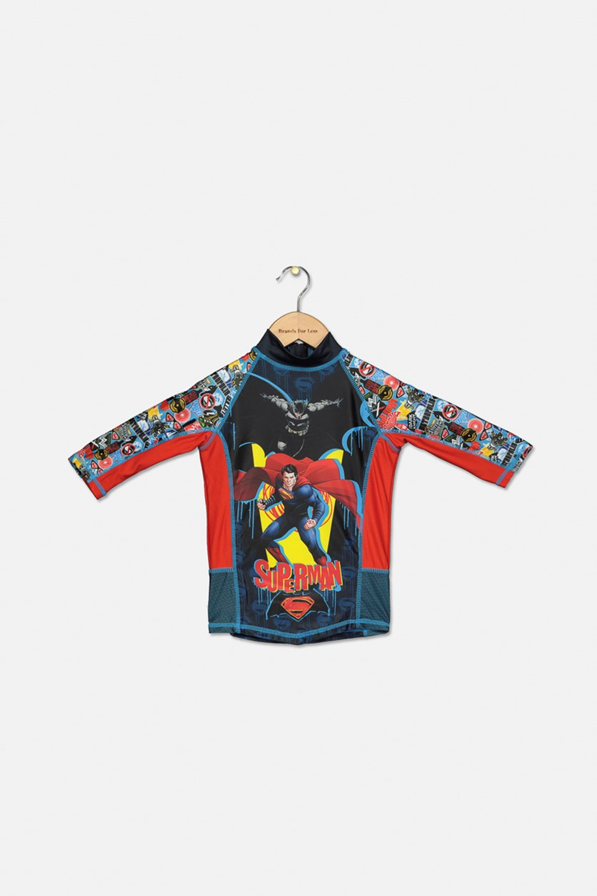 Boys Superman Rash Guard, Blue/Red