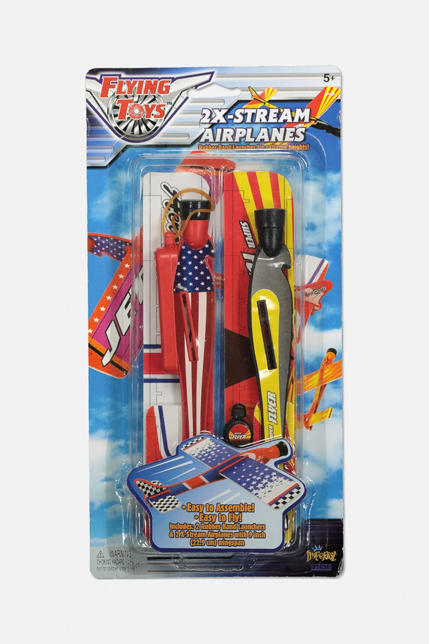 Flying Toys 2X-Stream Airplanes, Red/Yellow
