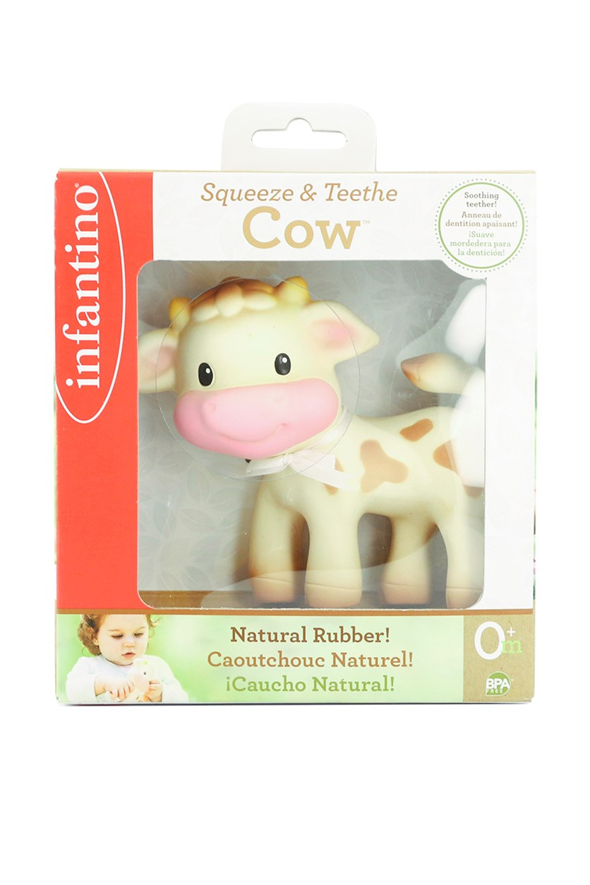 Squeeze & Teethe Cow, Khaki/Pink/Brown