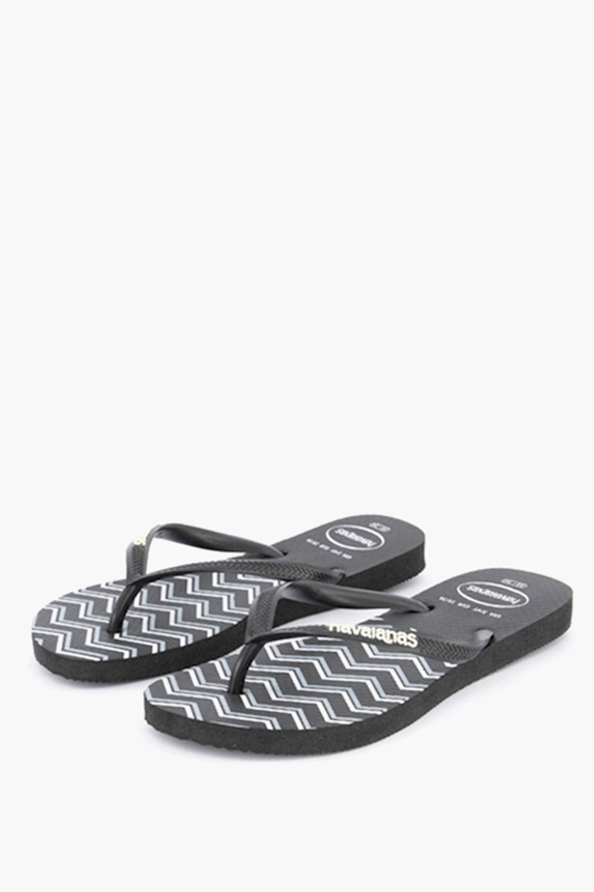 Kids Girls Slim Zigzag Thong Slippers, Black