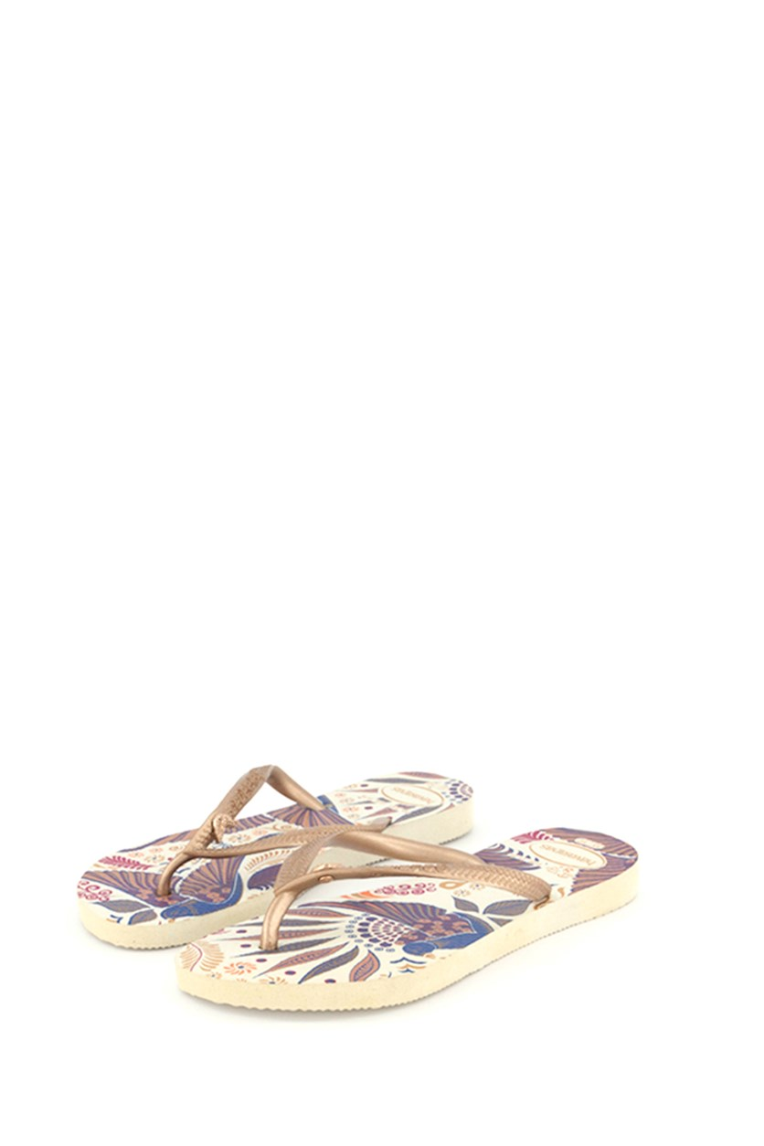 Gir's Slim Royal Flip Flops, White/Gold Rose
