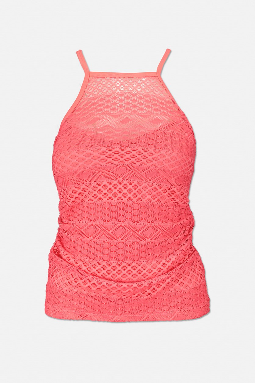 Women's Coral High Neck Crochet Tankini Swimsuit Top, Pink